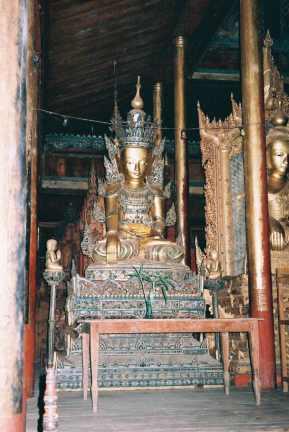 Serene gold Buddha, Nga Phe Kyaung monastery.