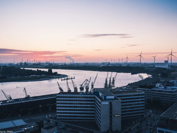 antwerp belgium, architecture, boat, building, capital, city, cityscape, dusk, europe, landmark, light, night, reflection, ship, sky, skyline, sunset, tourism, travel, twilight, urban, water
