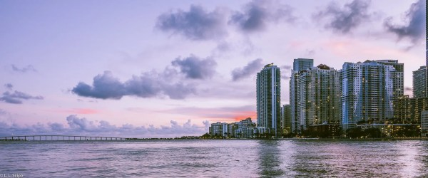 architecture, bay, biscayne, blue, brickell, bridge, buildings, causeway, city, cityscape, colorful, downtown, dusk, florida, landmark, miami, night, office, panorama, reflection, skyline, skyscraper, sunset, urban, usa, venetian, water