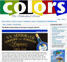 #716. The Multi-Cultural Spirit 'Curaçao of Curaçao' featured in Colors, The Multicultural Review magazine (September 2013).