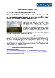 #861. Williwood makes its German debut in June 2013 'Press and Consumer Newsletter' about Curaçao.