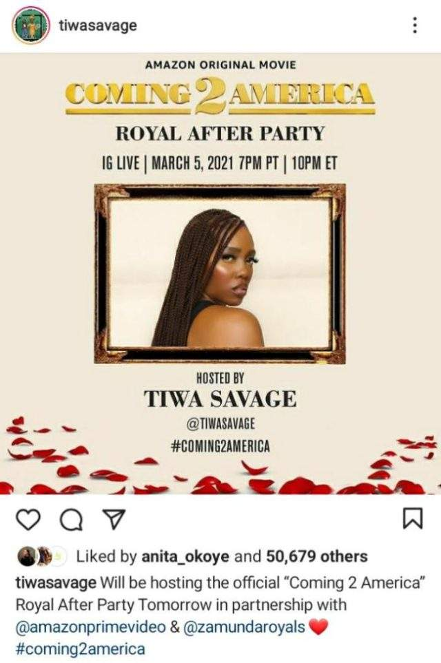 Tiwa Savage Is The Official Host of Coming 2 America Movie Premiere