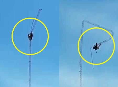 恐怖の解体映像。細くて高いアンテナ塔の解体作業をしていた二人の作業員が・・・。
