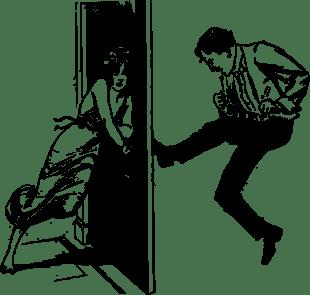 Image result for man kicks door