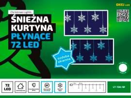 Kurtyna świetlna Gwiazdki 1,25 m • 72 LED • wewnętrzne oświetlenie •  8 funkcji świecenia • lampki świąteczne NR 0198