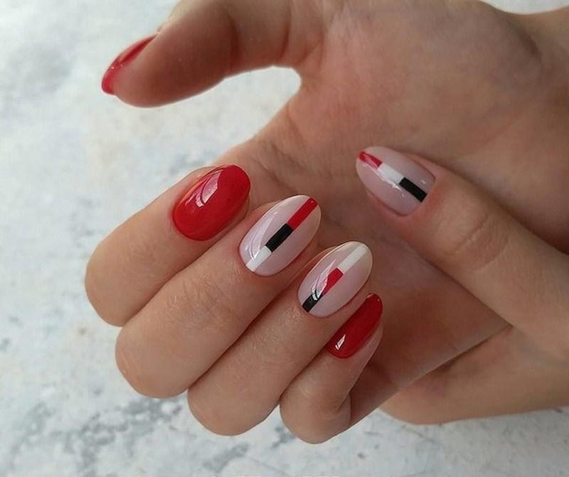 дизайн ногтей красный с черным 6