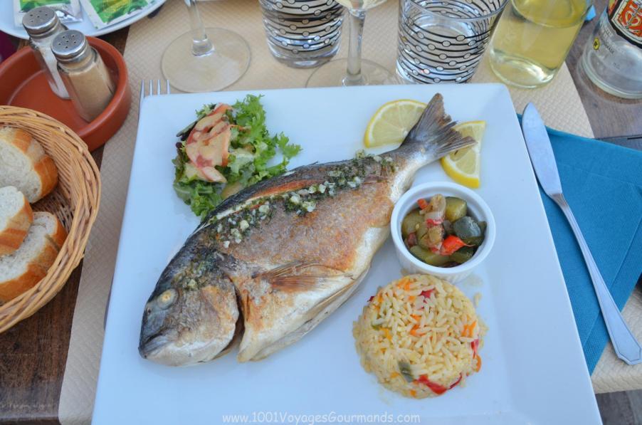 čerstvá dorada s grilovanou zeleninou a rýží z Camargue, kterou jsme si dali v přístavu v Saintes-Maries-de-la-Mer