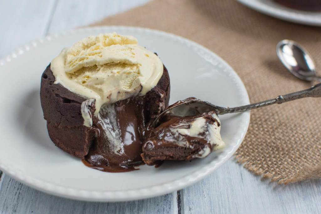 Chocolate Molten Lava Cake is a divine, almost no flour chocolate cake with a melted center. After you sink the spoon in, hot chocolate will start running!