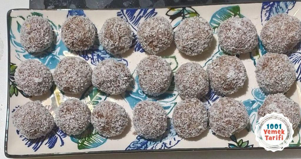 kakaolu kurabiye tarifi-5 dakikada yapılan toplar-nasıl yapılır yapımı-kaç kalori