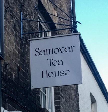 A photograph of the Samovar Tea House shop sign in Ely.