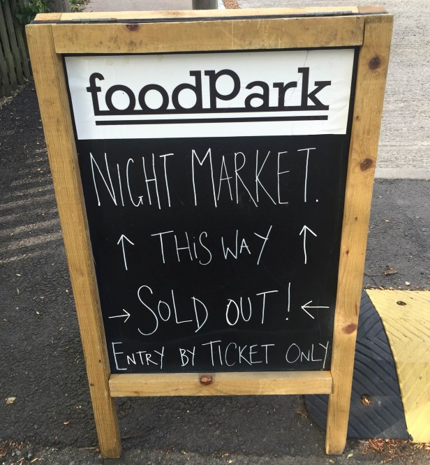 A photo of the sign at the entrance of the sell-out event.