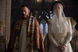 A photograph of Michael Fassbender as Macbeth and Marion Cotillard as Lady Macbeth at the Coronation.