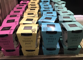 A photograph of Tiddly Pots: small pots of chocolate drops