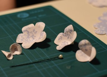 A photograph of the flower layers all ready to put together