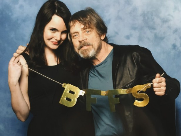 A photograph of Sara meeting Mark Hamill who is Luke Skywalker in Star Wars