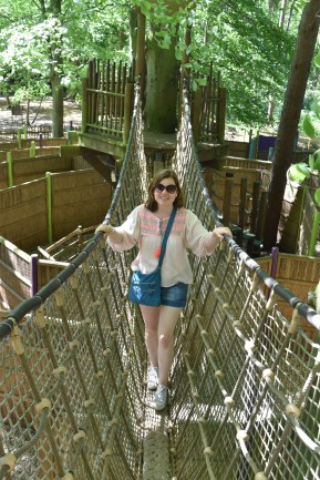 A photograph of Emma on a rope bridge over the maze.
