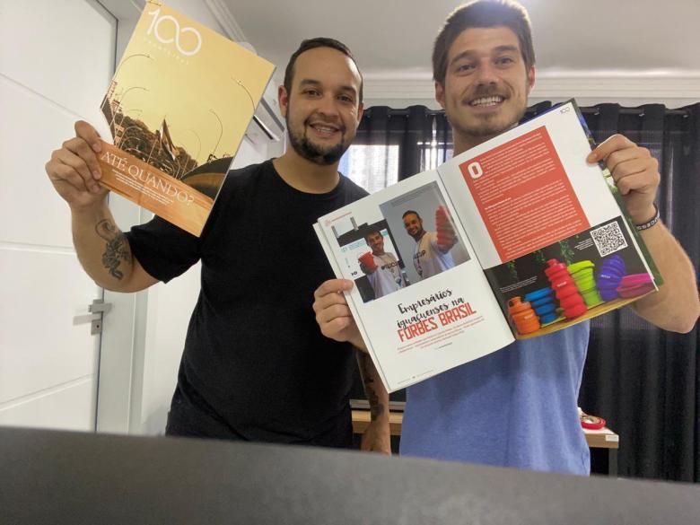 Anderson Gasparin e Rafael Kisse, fundadores da Silicup na Revista 100fronteiras