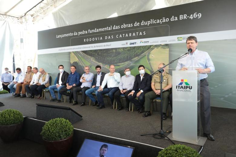 Cerimônia de lançamento da pedra fundamental da obra de duplicação da Rodovia das Cataratas