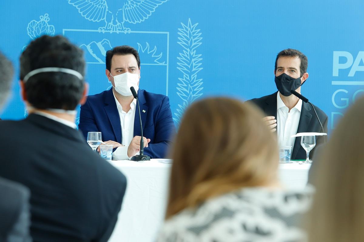 Coletiva de imprensa com o governador Ratinho Jr de volta às aulas no Paraná