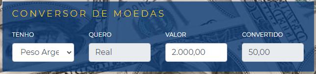 Pesos argentinos para reais