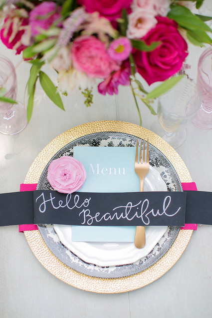 Place setting with Paper Flowers- A Bridal Shower of Paper Flowers
