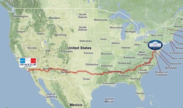 Team RAUSA to Run 3 000 Miles During 2014 2015 School Year     100     The 3 000 Route for Team RAUSA which starts near the Headquarters of the 100  Mile Club