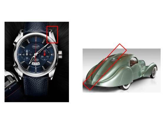 PARMIGIANI Bugatti Aérolithe_Epine dorsale - montre versus voiture