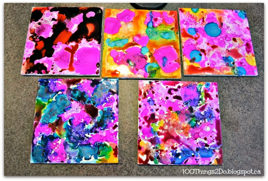 Coasters made from ceramic tile and alcohol ink