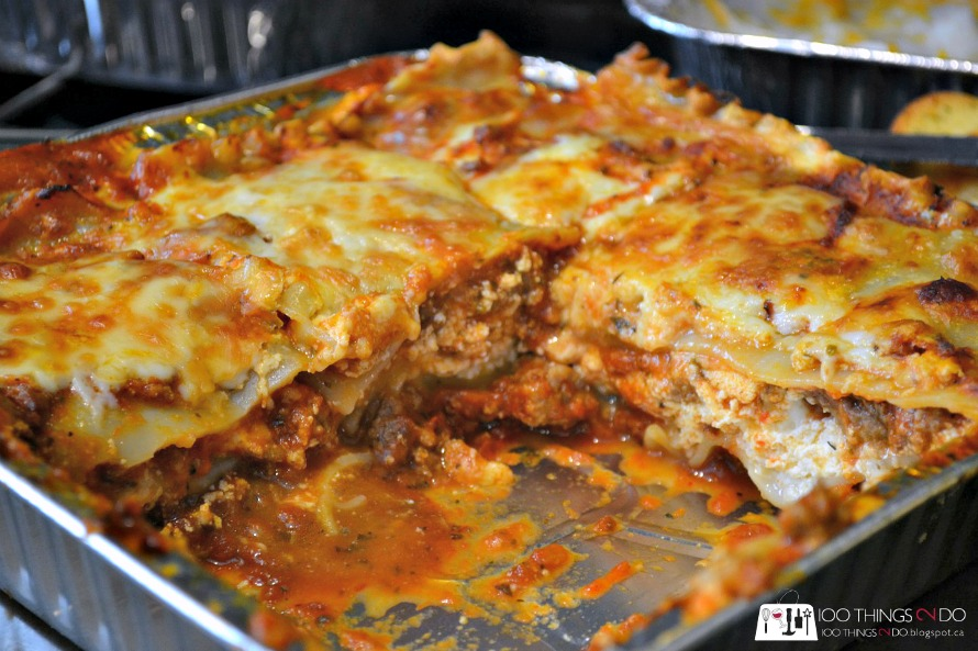 baked lasagna with slice taken out