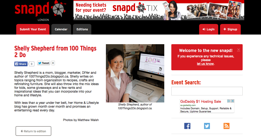 Screen shot of e-edition of February 2014 Snap'd London