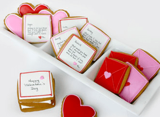Love letter shaped cookies