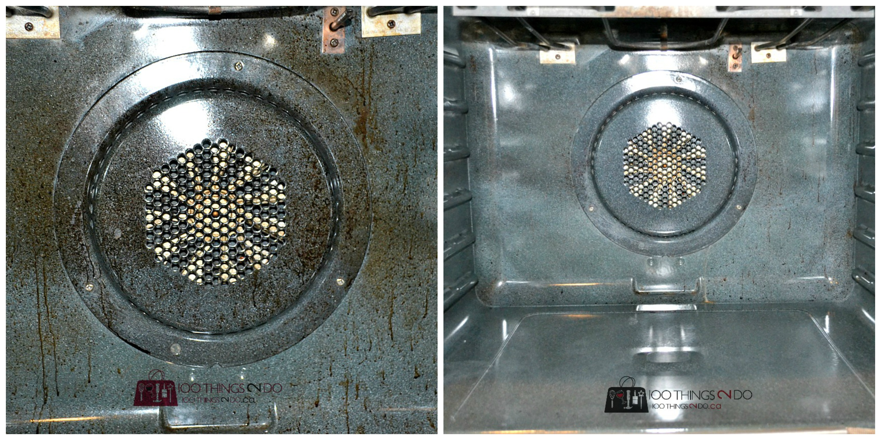 Before and after of filthy to clean oven