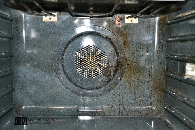 Oven interior; half clean, half dirty