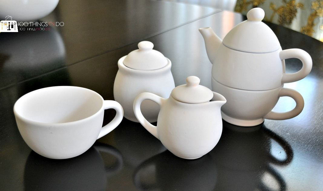 Thrift store tea set makeover to cute kitchen decor.