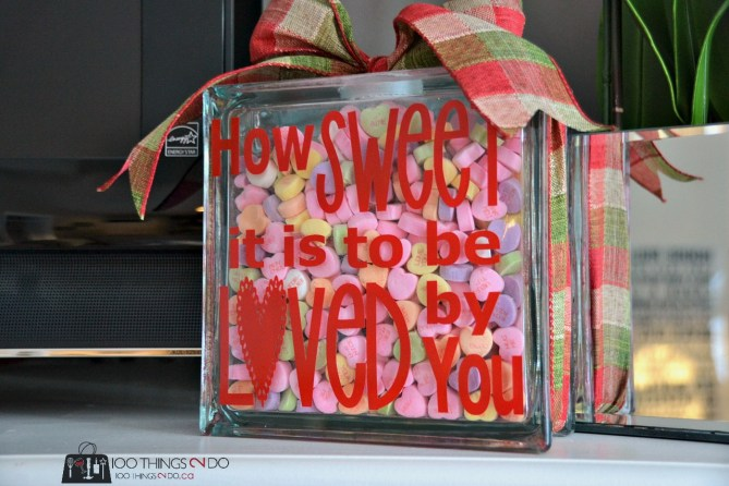 Glass block filled with conversation heart candy