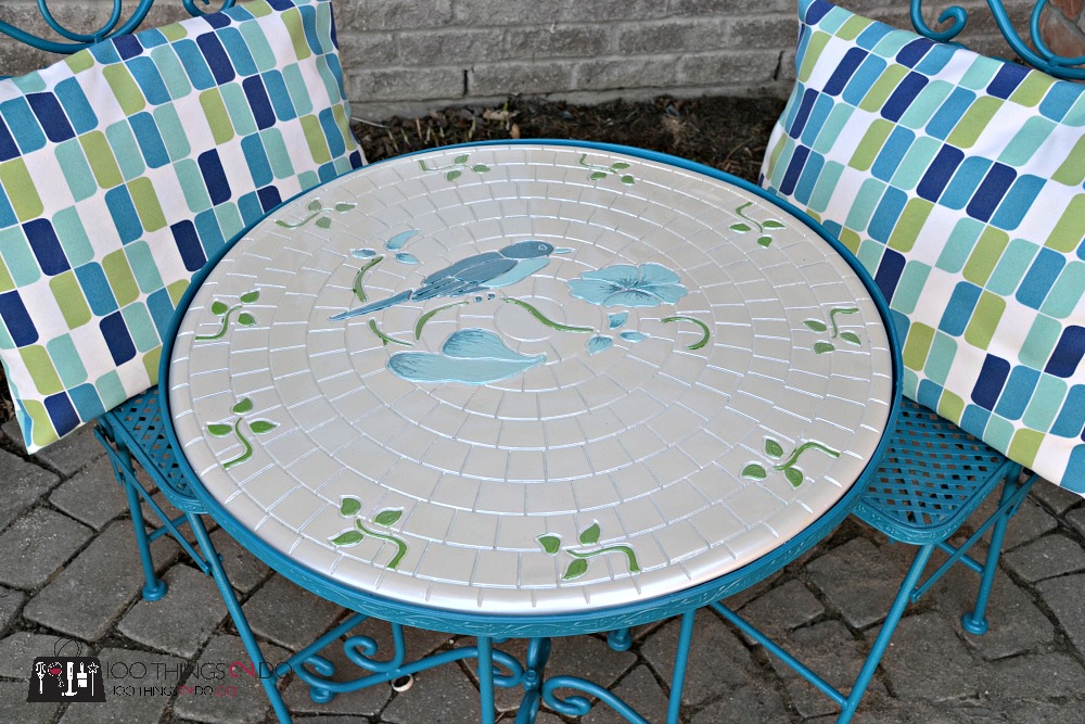 Bistro set with painted top