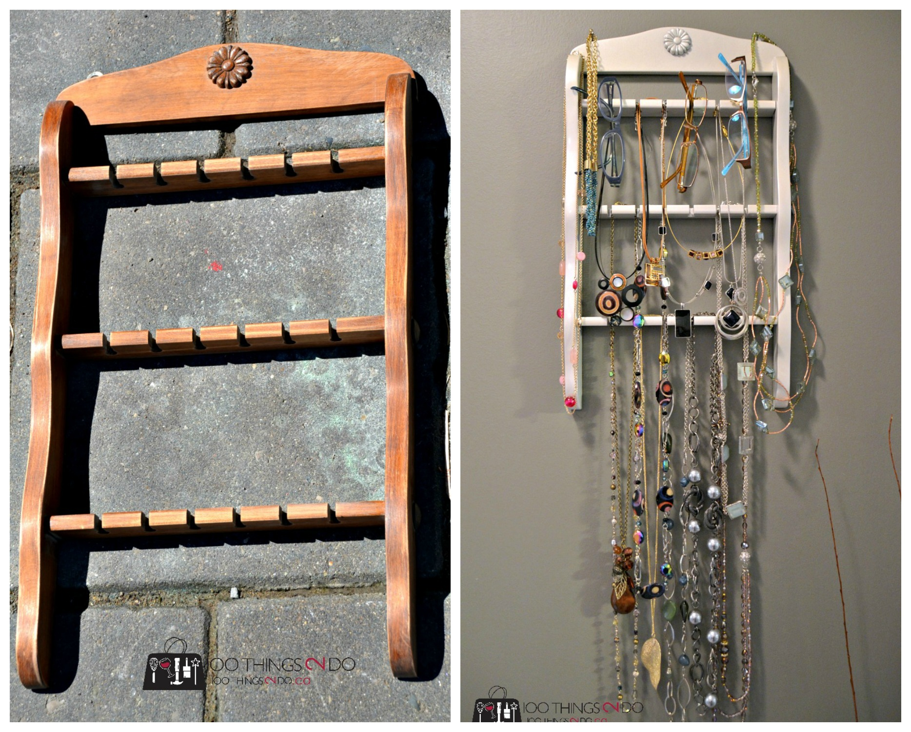 Repurposed spoon rack into jewelry organizer