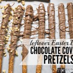 Chocolate covered pretzels (using leftover Easter Bunny)