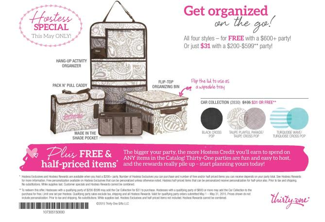 Thirty-One Giveaway! Car Organization