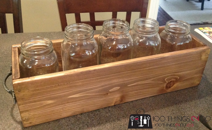 DIY wood caddy, cedar caddy, cedar tray, 5 minute tray, mason jar caddy, farmhouse caddy