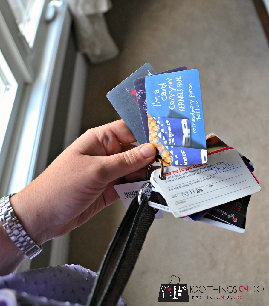 purse organization, organizing your points cards, keep your purse in order, key fob