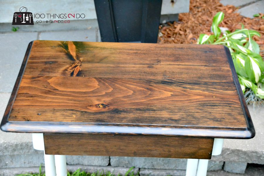 Refinished antique table, antique table, table makeover, side table  makeover, antique makeover - Refinished Antique Table? School Desk? Sewing Desk? 100 Things 2 Do