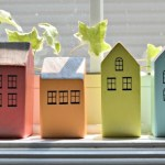 Scrap wood row houses for your windowsill