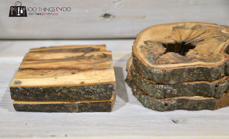 Branch coasters, wood coasters
