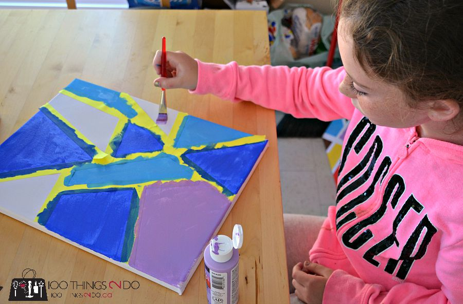 Masked canvas for kids - great for rainy days at the cottage.