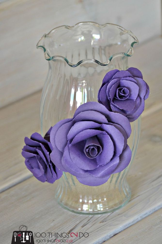 How to make a decorative vase using paper flowers - vase makeover