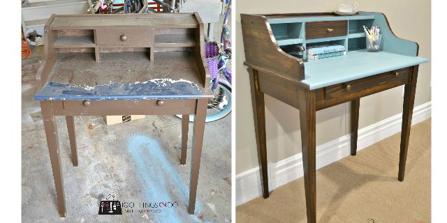 Secretary desk makeover - all the steps included
