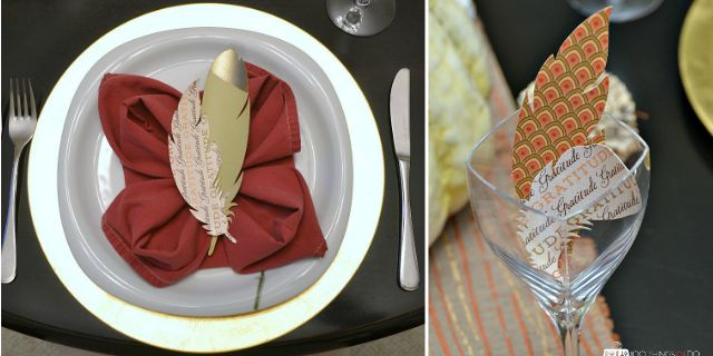 Paper feathers for Fall tablescapes