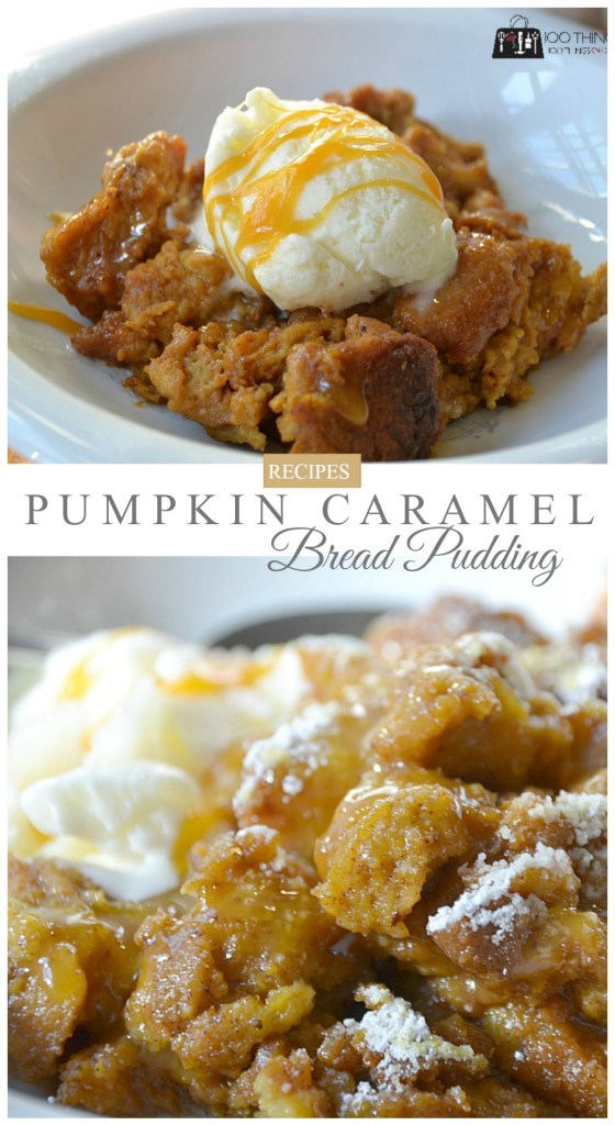 Pumpkin, Cinnamon and Caramel Bread Pudding - slow cooker dessert