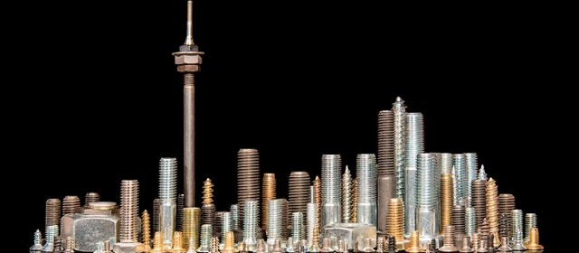 Skyline made from screws and bolts